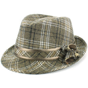 Wool Tweed Trilby Hat with Flower - Beige
