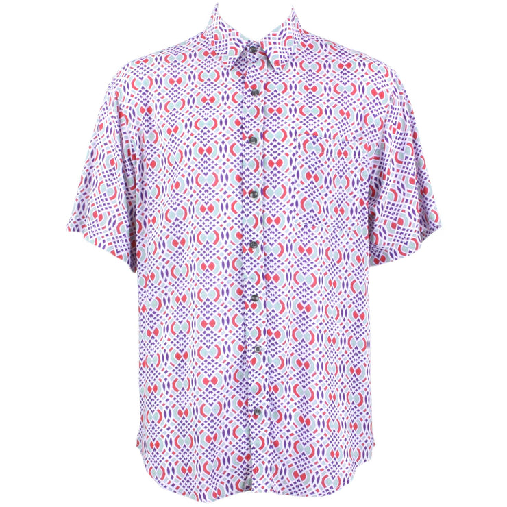 Regular Fit Short Sleeve Shirt - Pink & Purple Abstract
