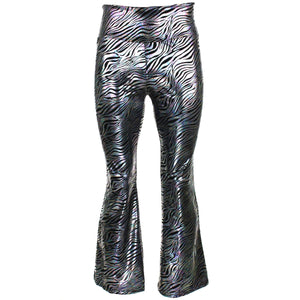 Shiny Metallic Flares Trousers - Zebra