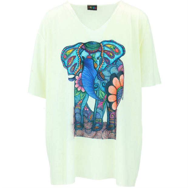 Short Sleeve Elephant Top - White