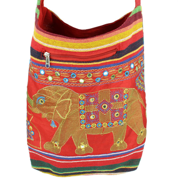 Embroidered Elephant Canvas Sling Shoulder Bag - Red