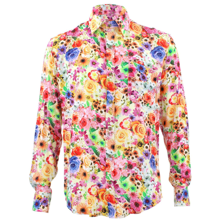 Tailored Fit Long Sleeve Shirt - Bright Yellow & Pink Floral