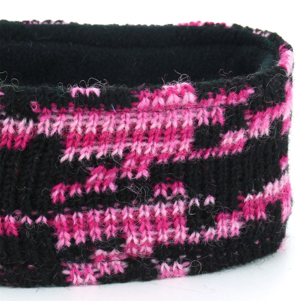 Wool Kint Headband - Pink Houndstooth