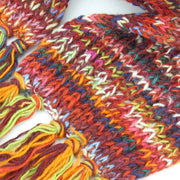 Chunky Wool Knit Scarf - Space Dye - Red & Purple