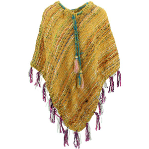 Stripe Crochet Poncho Long - Yellow