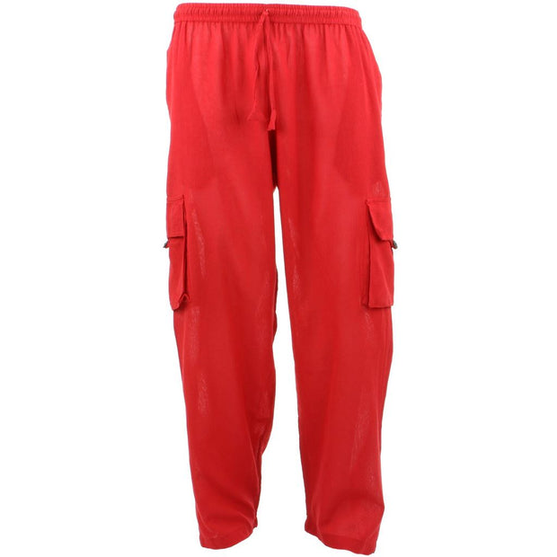 Classic Nepalese Lightweight Cotton Plain Cargo Trousers Pants - Red
