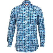 Regular Fit Long Sleeve Shirt - Blue & White Abstract