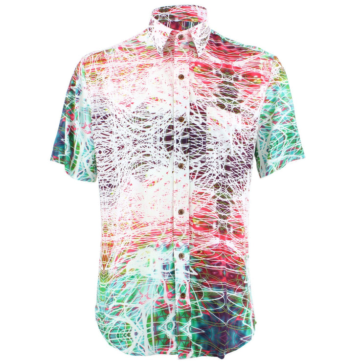 Tailored Fit Short Sleeve Shirt - Multi Abstract Doodle