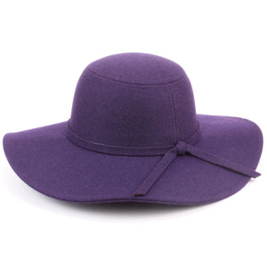 Wool felt wide brim floppy hat - Purple (One Size)