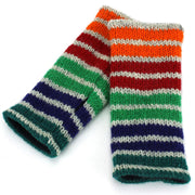 Wool Knit Arm Warmer - Stripe Green