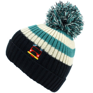Kids Stripe Bobble Beanie Hat - Navy