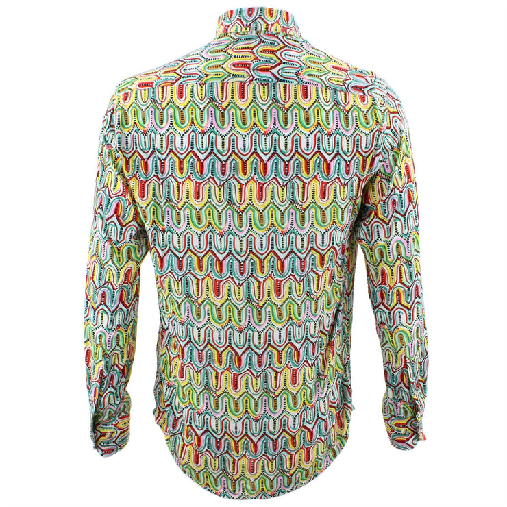 Tailored Fit Long Sleeve Shirt - Green Yellow & Pink Abstract