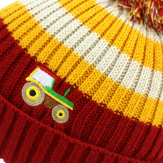 Kids Stripe Bobble Beanie Hat - Red