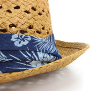 Straw Trilby Fedora Hat with Hibiscus Floral Band - Brown