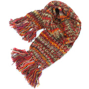 Chunky Wool Knit Scarf - Space Dye - Dark Red