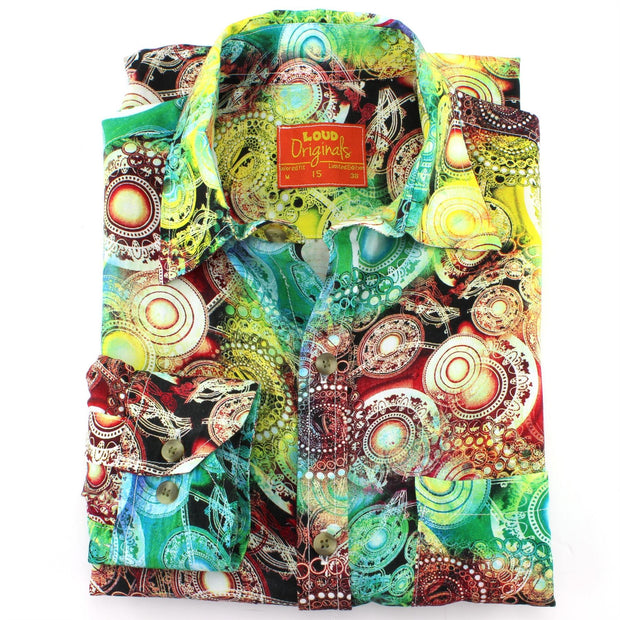 Tailored Fit Long Sleeve Shirt - Yellow & Red Psychedelic Swirls