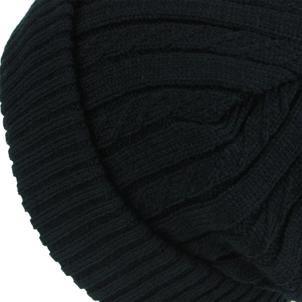 Fine Knit Beanie Hat with Super Soft Fleece Lining - Black