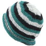 Chunky Wool Knit Beanie Hat with Rolled Brim - Green