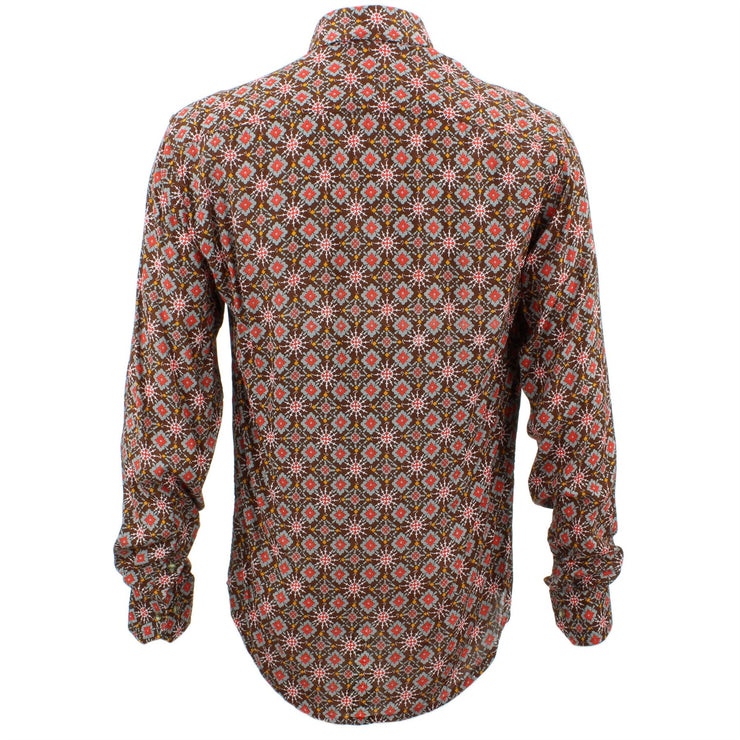 Tailored Fit Long Sleeve Shirt - Red & Grey Abstract on Brown