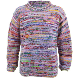 Chunky Wool Knit Space Dye Jumper - Light Pink