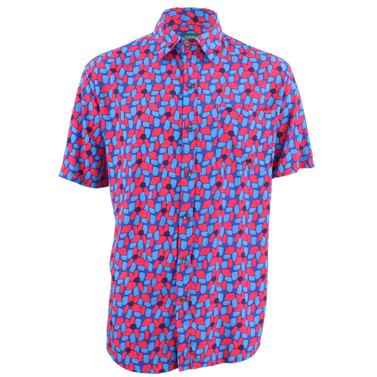 Tailored Fit Short Sleeve Shirt - Red & Blue Abstract