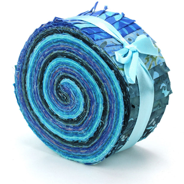 Cotton Batik Pre Cut Fabric Bundles - Jelly Roll  - Blue Slate