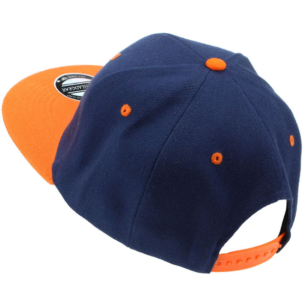 Contrast Peak Snapback Flat Peak Cap - Navy & Orange
