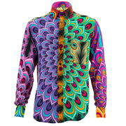 Regular Fit Long Sleeve Shirt - Peacock Mandala - Random Mixed Panel