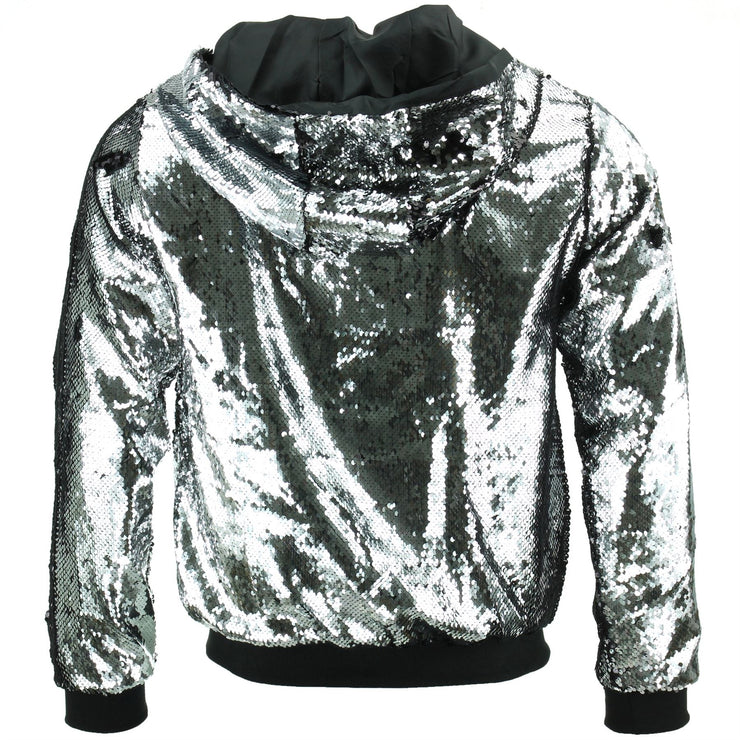 Sequin Hooded Bomber Jacket - Silver