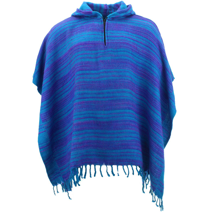 Hooded Square Poncho - Light Blue