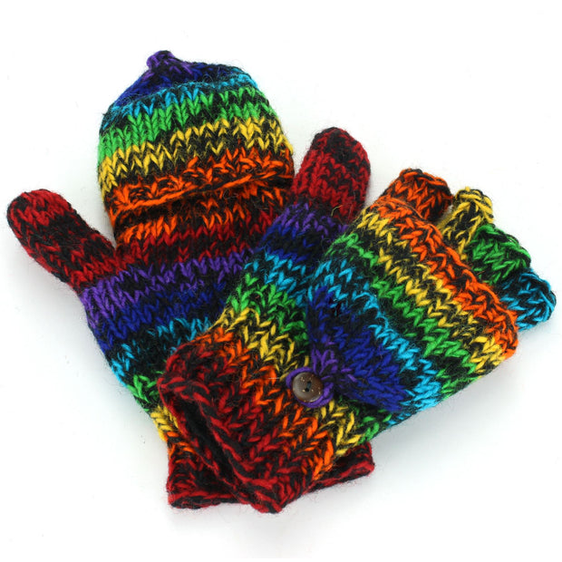 Wool Knit Shooter Gloves - Black Rainbow SD