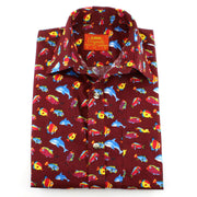 Tailored Fit Short Sleeve Shirt - Maroon Cartoon Fish