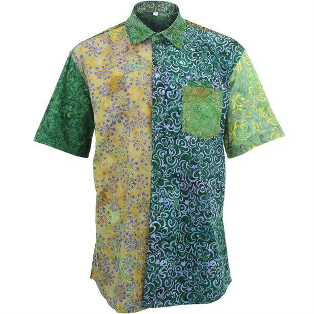 Regular Fit Short Sleeve Shirt - Random Mixed Batik - Dark Green