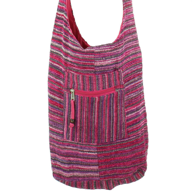 Striped Chenille Sling Shoulder Bag  - Pink
