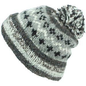 Chunky Wool Knit Abstract Pattern Beanie Bobble Hat - Grey