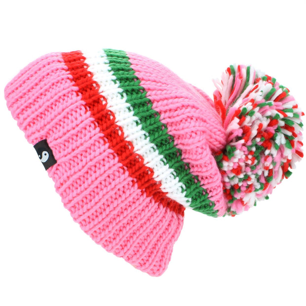 Chunky Acrylic Knit Beanie Hat with a MASSIVE Bobble - Pink