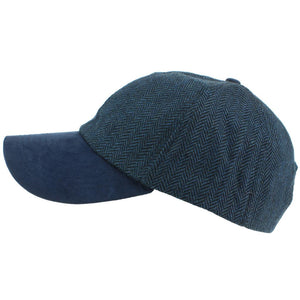 Wool Tweed Herringbone Baseball Cap - Blue