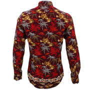 Tailored Fit Long Sleeve Shirt - Maroon Floral Palm