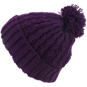 Cable Knit Bobble Beanie Hat - Purple
