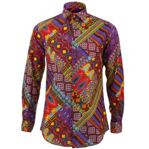 Tailored Fit Long Sleeve Shirt - Digital Diagonals