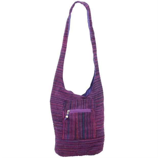 Striped Chenille Sling Shoulder Bag - Bright Purple