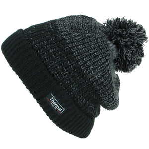 Chunky Knit Marl Bobble Beanie Hat with Turn-up - Black