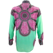 Regular Fit Long Sleeve Shirt - Flower Mandala - Green