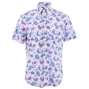Tailored Fit Short Sleeve Shirt - Purple Paisley Floral