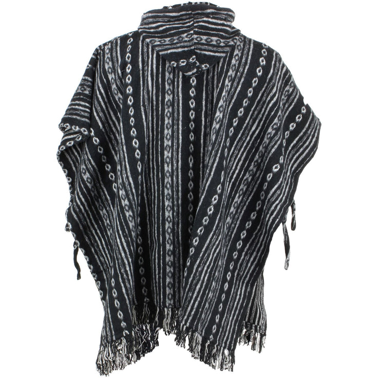 Brushed Cotton Hooded Poncho - Black Diamond