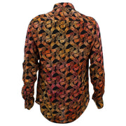 Tailored Fit Long Sleeve Shirt - Orange Pineapples on Black