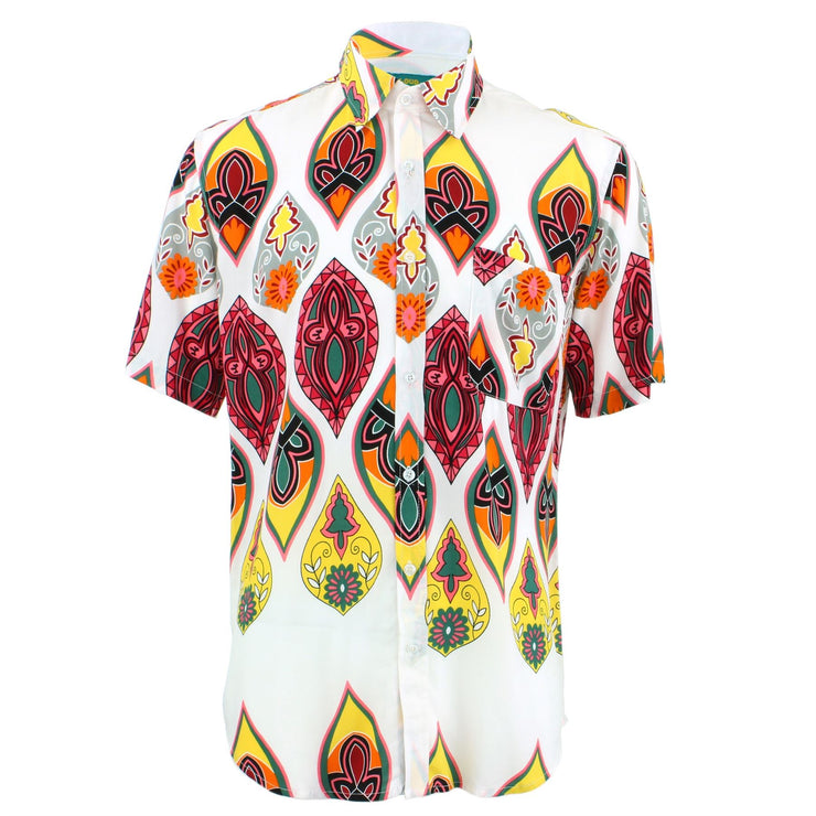 Tailored Fit Short Sleeve Shirt - Multi-coloured Abstract Shapes