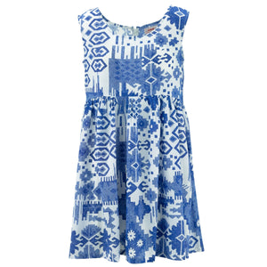 The Shroom Dress - Blue Aztec