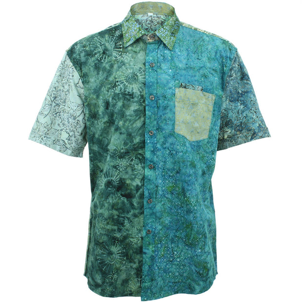 Regular Fit Short Sleeve Shirt - Random Mixed Batik - Dark Blue