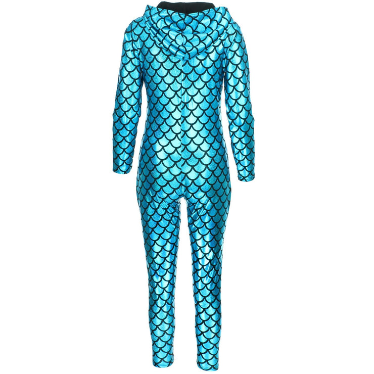 Shiny Mermaid Scale Hooded Catsuit - Turquoise